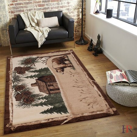 Hr Rustic Cabin Area Rug Bear And Lodge Design