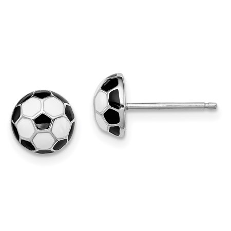 925 Sterling Silver Enamel Soccer Ball Post Stud Earrings Sport Gifts For Women For Her