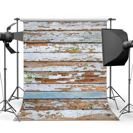 Happy Birthday Peel - HelloDecor Polyster 5x7ft Wood Backdrop Whitewashed Wallpaper Rustic Peeled Stripes Wooden Plank Photography Background Kids Adults Happy Birthday Party Decoration Photo Studio Props
