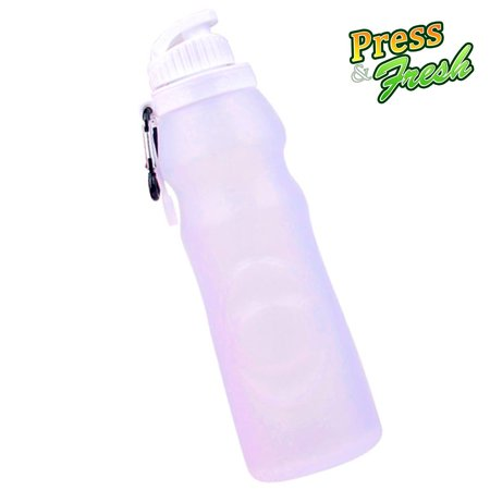 Press n Fresh Silicone Foldable Water Bottle - Perfect for Running, Biking, Jogging, Hiking, Camping, Picnic, Yoga and Travel etc. (Clear)