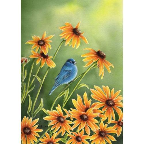 "Indigo Summer Garden Flag Blue Bird Floral 12.5"" x 18"" Briarwood Lane"
