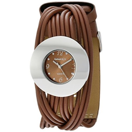 Japanese Band - Women's NS215B Brown Tangled Series Leather Band Analog Display Japanese Quartz Brown Watch