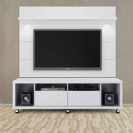 Manhattan Comfort Cabrini Tv Stand And Floating Wall Panel With Led Lights 1 8 For Tvs