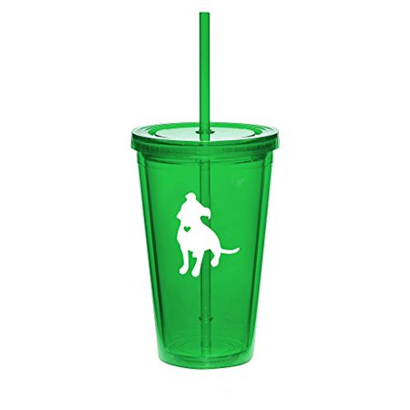 16oz Double Wall Acrylic Tumbler Cup With Straw Cute Pit Bull With Heart - Cute Straws