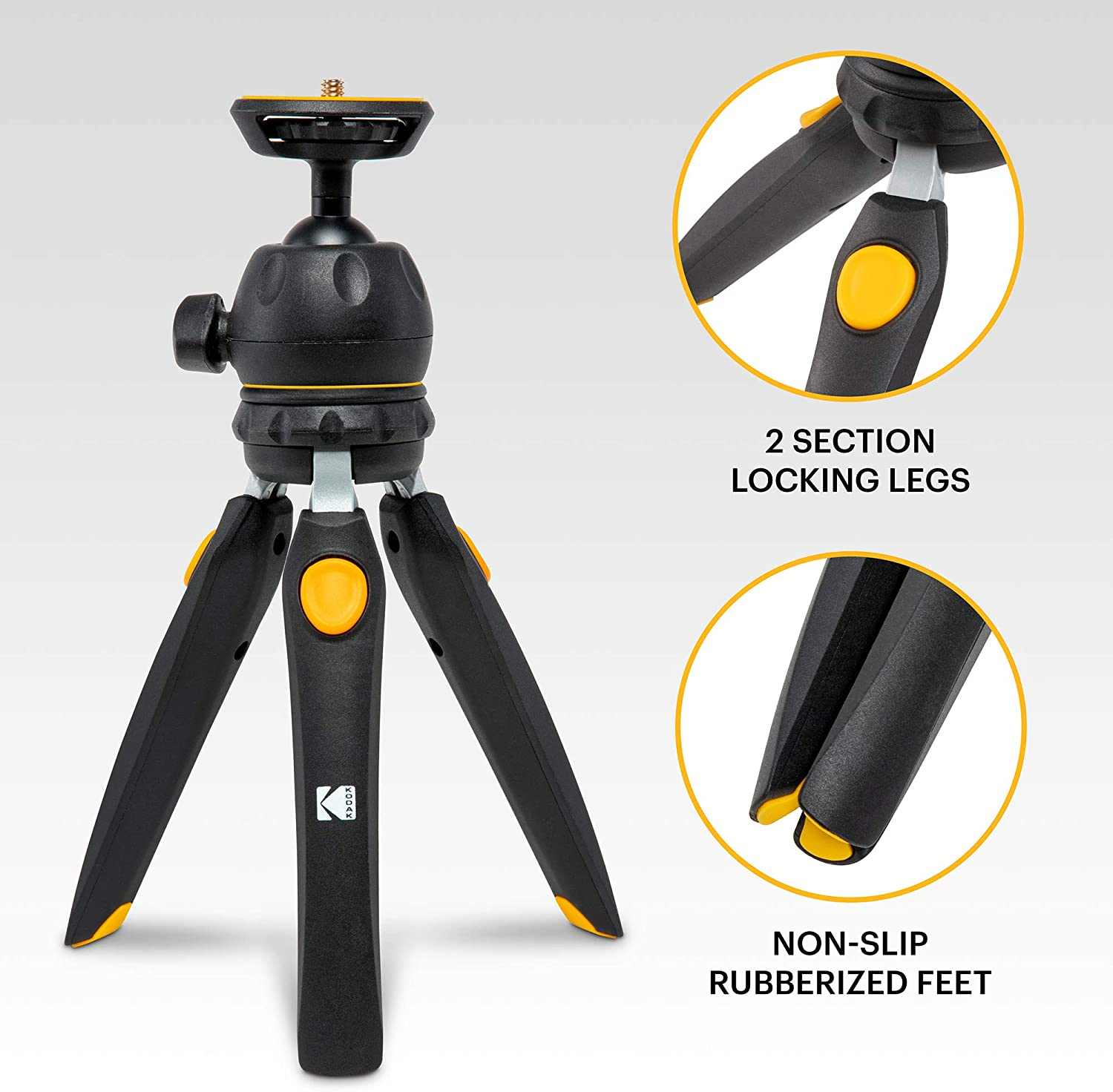"""Compact 9/"""" Tabletop Tripod Converts to 11/"""" Selfie Stick Rubber Feet Smartphone /& Action Camera Adapters KODAK PhotoGear Mini Adjustable Tripod with 360/° Ball Head 5-Position Legs E-Guide Included"""