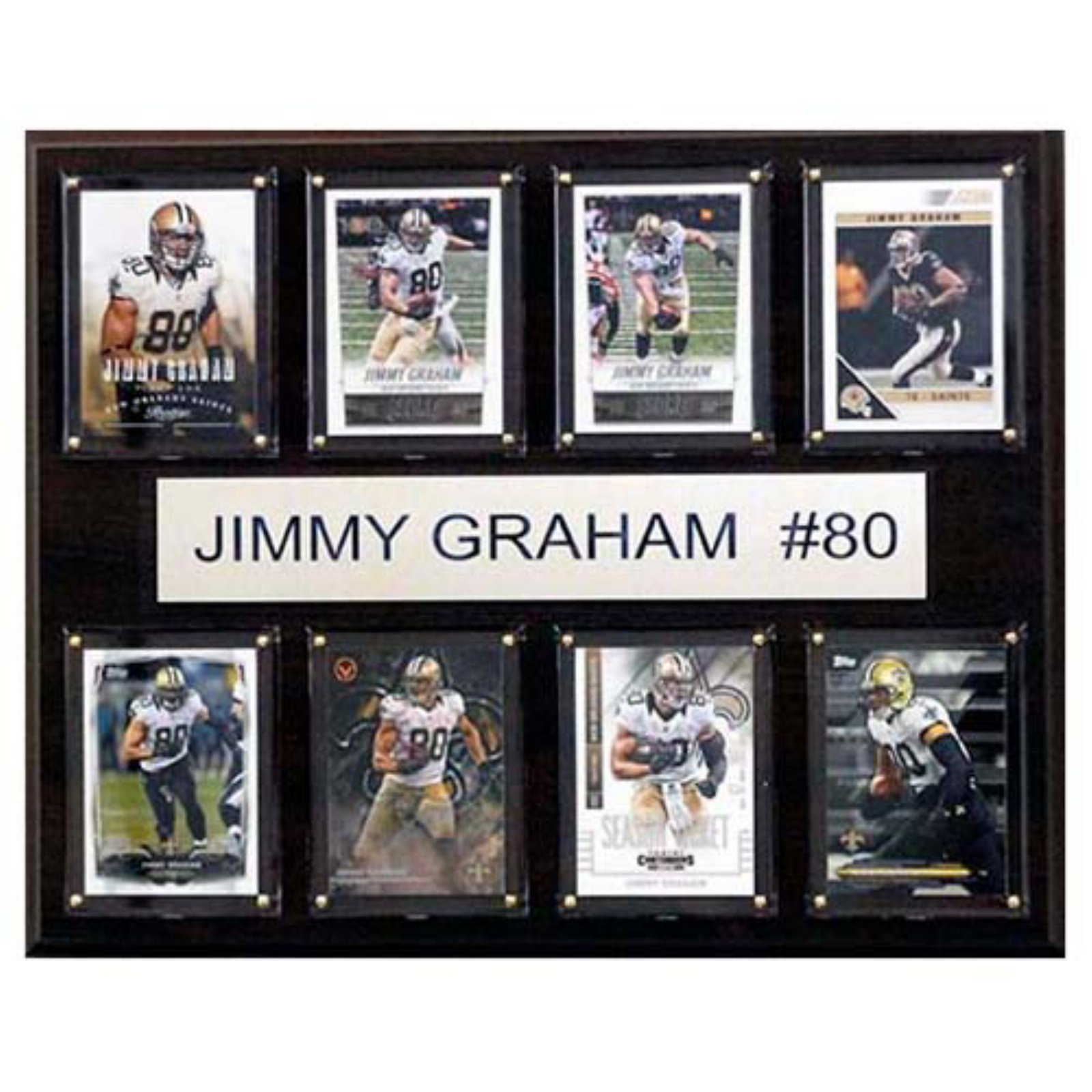 C and I Collectables NFL 15W x 12H in. Jimmy Graham New Orleans Saints 8 Card Plaque