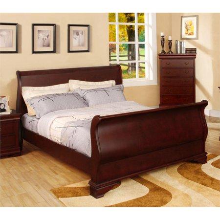 Furniture of america easley california king sleigh bed in cherry for California king sleigh bedroom set