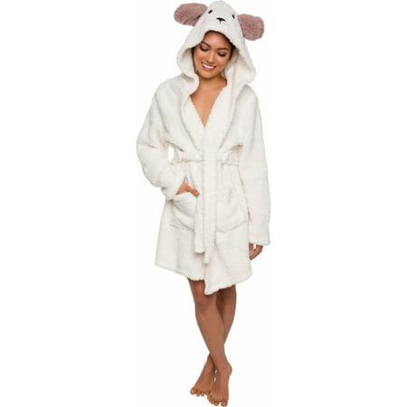Silver Lilly Women's Lamb Animal Hood Plush Short Bath Robe (Hooded Robe Short)