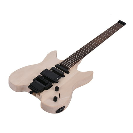 Muslady Unfinished DIY Electric Guitar Kit Basswood Body Rosewood Fingerboard Maple Neck Special Design Without Headstock Build Your Own