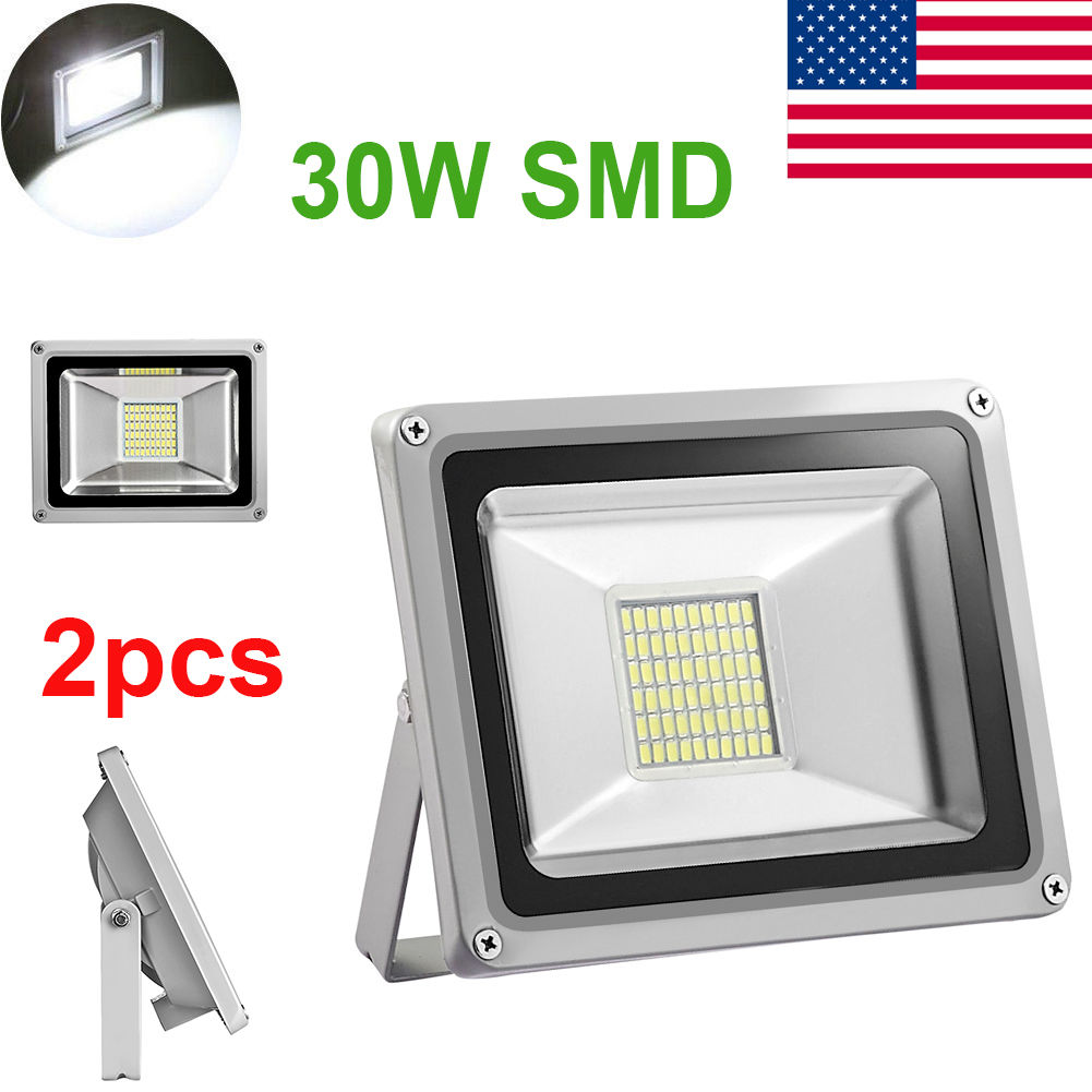 2 X 30W LED Flood Light Cool White SMD Landscape Outdoor Garden Spot Wall Lamp