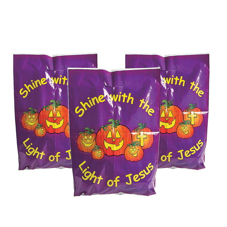 Fun Express - Christian Pumpkin Plastic Bags (50pc) for Halloween - Party Supplies - Bags - Plastic Bags - Halloween - 50 - Christian Halloween Party Names