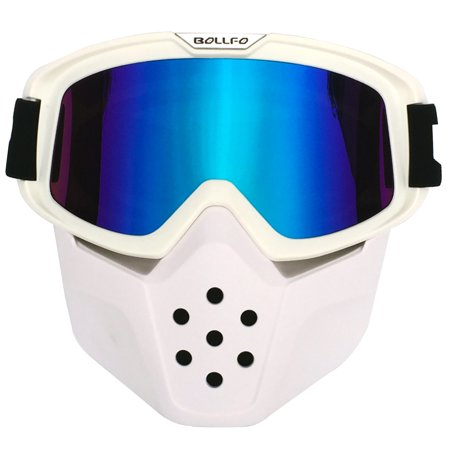 Windproof Dust-proof Goggles Ultraviolet-proof Eyes Protector with Face  Mask for Off-road Vehicle Motorcycle - White Frame + Colorful Lens