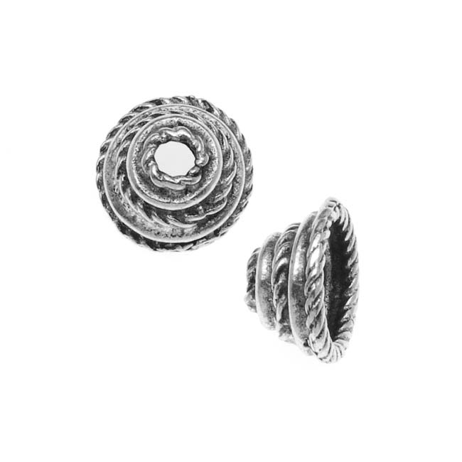 Nunn Design Antiqued Silver Plated Bead Cap Coral 10mm (2)