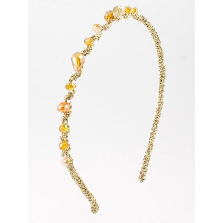 Unique Bargains Women Light Brown Beige Gold Tone Tinsel Plastic Crystal Slim Headband Hair Hoop