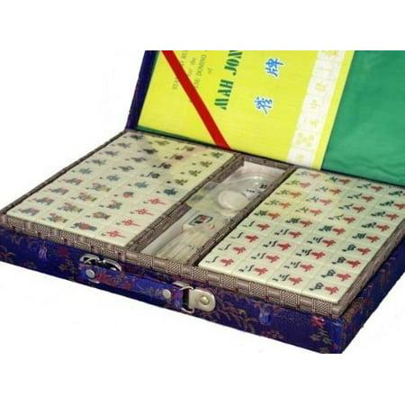 Chinese Mahjong Set (Chinese Mahjong Game Set With Silk Carrying Case LG)