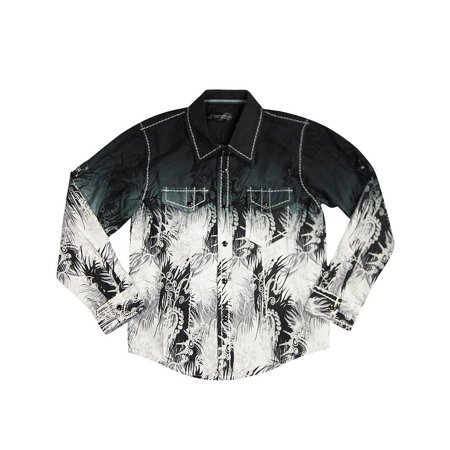 Smash Boys Sizes 4 - 14 Western Style Long Sleeve Button or Snap Down Shirt Top, 32947 black paisley / (Paisley Snap Western Shirt)