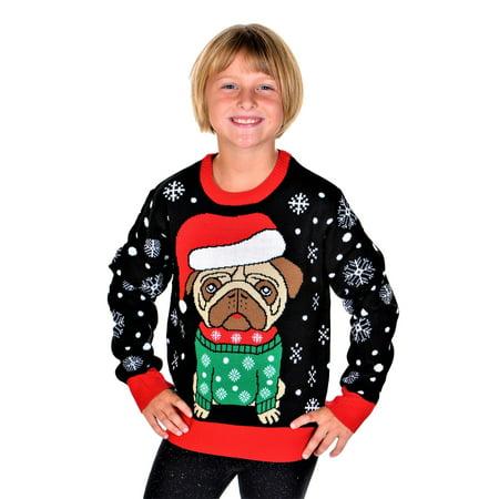 SoCal Look Boys Ugly Christmas Sweater Santa Pug Pullover Black ()