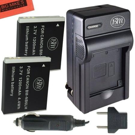 BM Premium 2 NB6L, NB-6LH Batteries & Charger for Canon PowerShot SX170 IS, SX260 HS, SX280 HS, SX500 IS, SX510 HS, SX520 HS, SX530 HS, SX540 HS, SX600 HS, SX610 HS, SX700 HS, SX710 HS, ELPH 500 HS (Canon Charger Powershot)