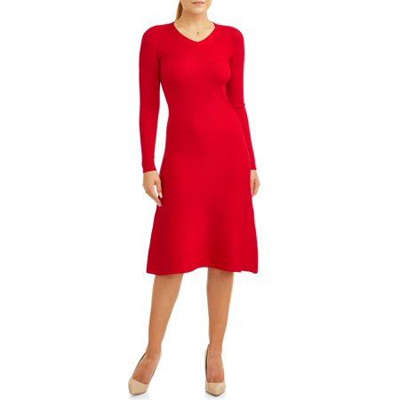 Women's Long Sleeve Fit and Flare Sweater Dress