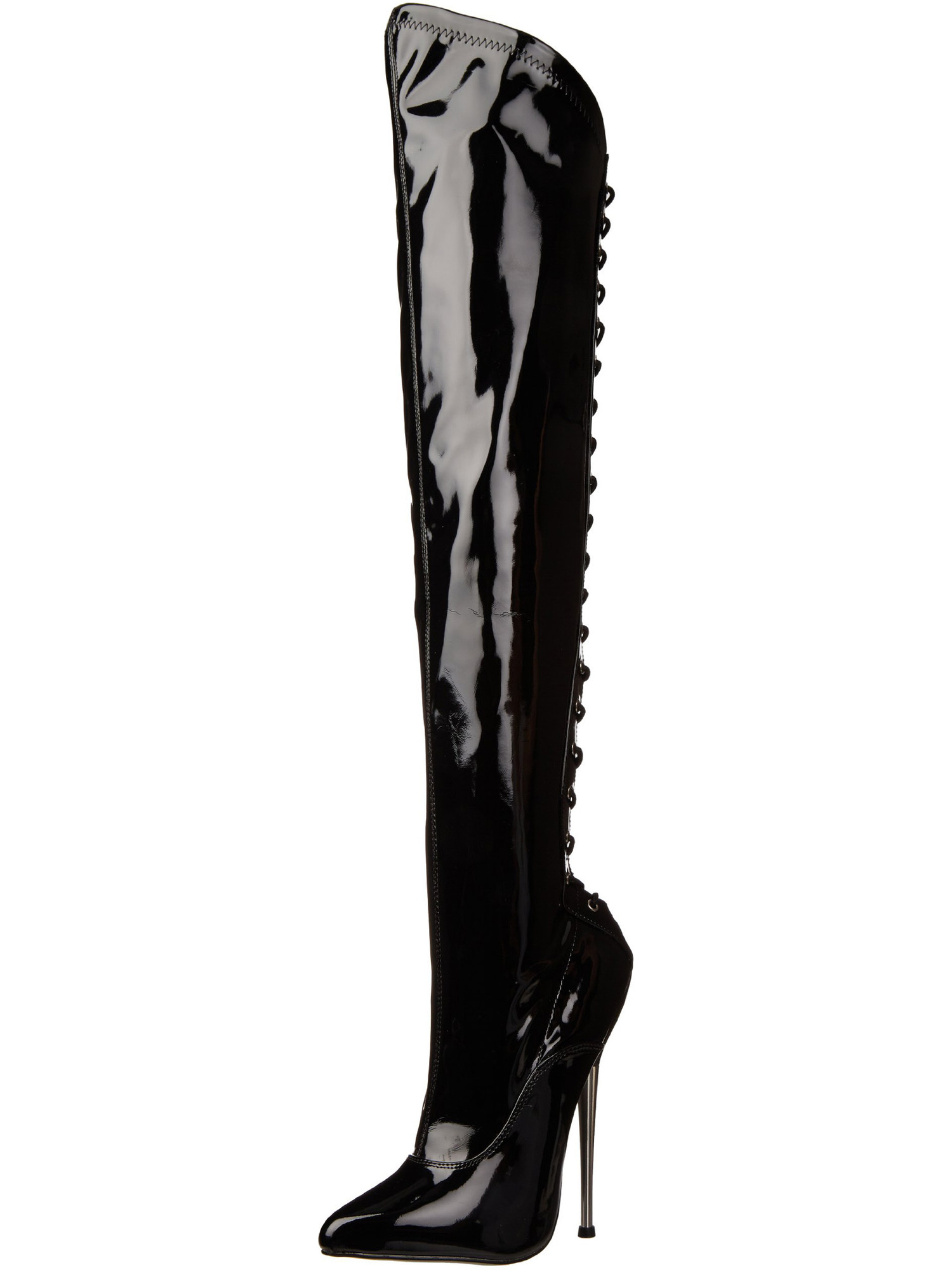 Asymmetrical Thigh High Black Boots with Brass 6.25 Inch Heels Lace Up Back