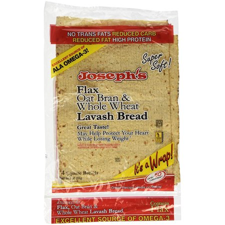 Joseph's Lavash Bread Flax Oat Bran & Whole Wheat Reduced Carb - 4 Square Breads - 1 Pack
