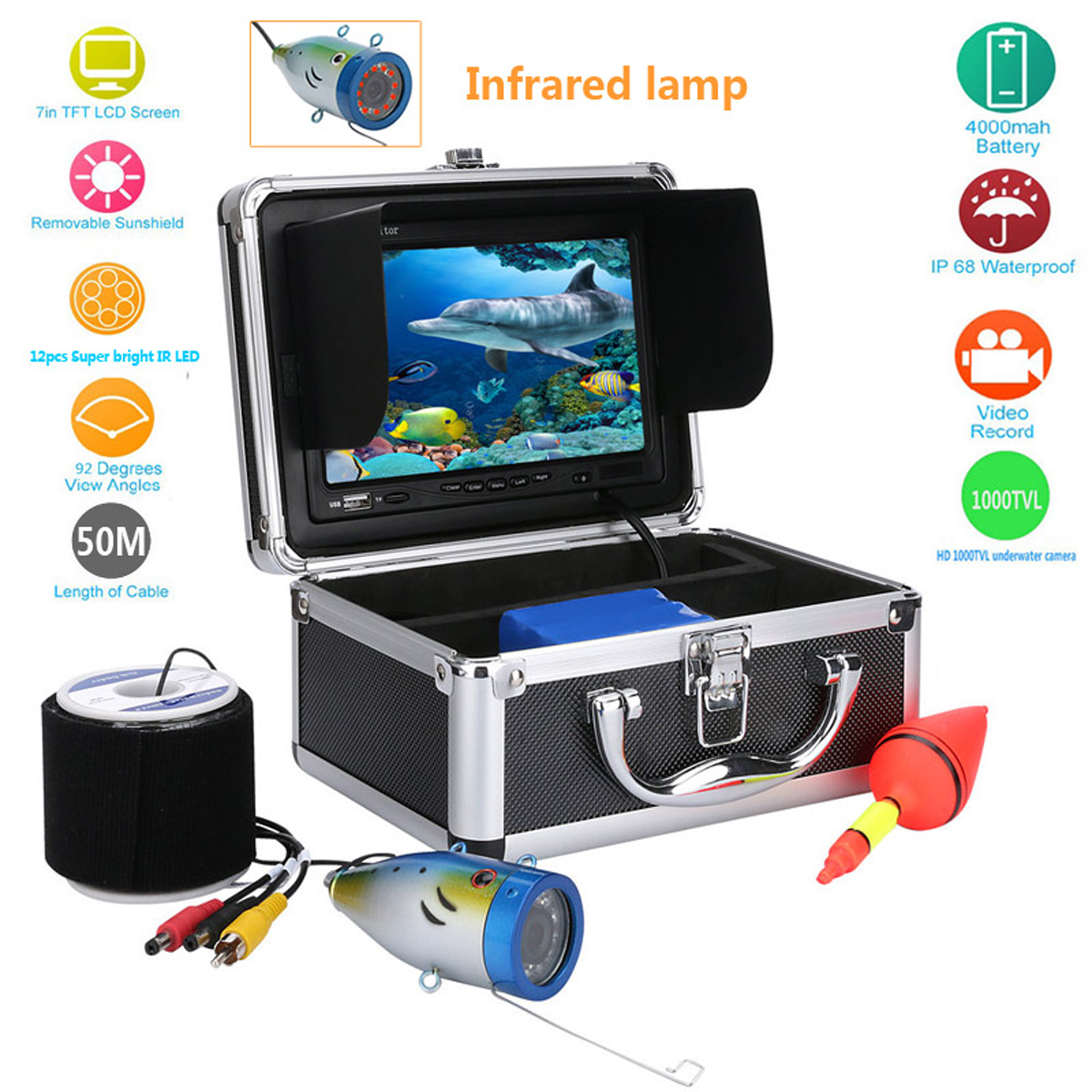 50M/164FT 7'' TFT LCD Screen Underwater Video Camera Fish...