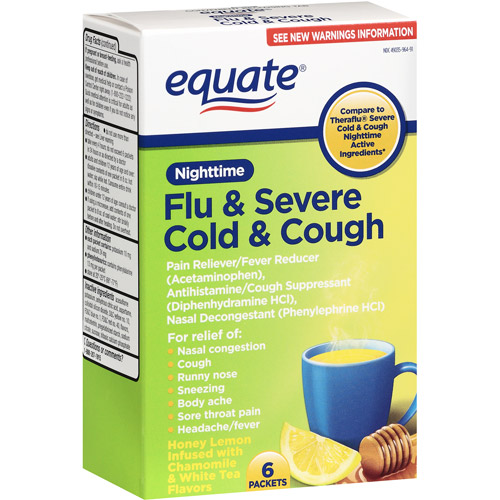 Equate Flu & Severe Cold & Cough Nighttime Pain Reliever/Fever Reducer, 6ct