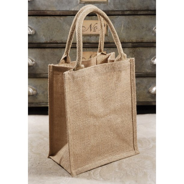 6 Burlap Tote Favor Bags With Handles