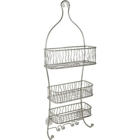 InterDesign Squiggle Bathroom Shower Caddy, (Rectangular Shower Basket Satin)