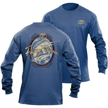 Flying Fisherman Beer Label L/S Tee, Royal Triblend, XL