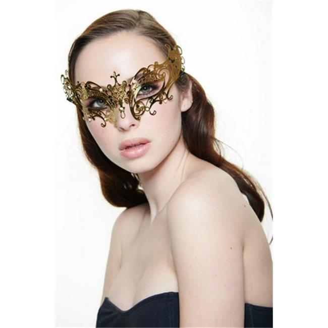 Kayso BG002GD Gold with Clear Rhinestones Simple Butterfly Metallic Laser Cut Masquerade Mask - One Size - image 1 of 1