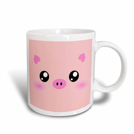 3dRose Kawaii pig face - cute pink minimalist farm animal cartoon - nursery kids child children girly girls, Ceramic Mug, 11-ounce