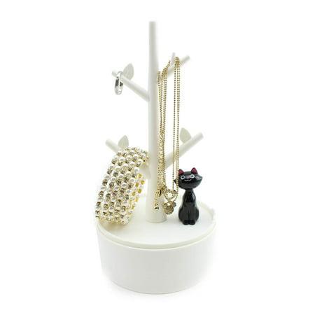 - Super Cute Cat Design Jewelry Box Earrings Hangers Storage Rack White New
