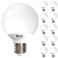 Sunco Lighting G25 LED Light Bulb 6W (40W) 450lm 3000K Dimmable 10 Pack
