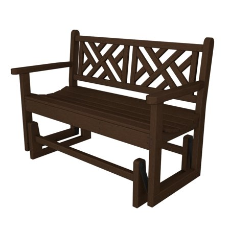 48 Recycled Chippendale Outdoor Patio Glider Bench Chocolate Brown