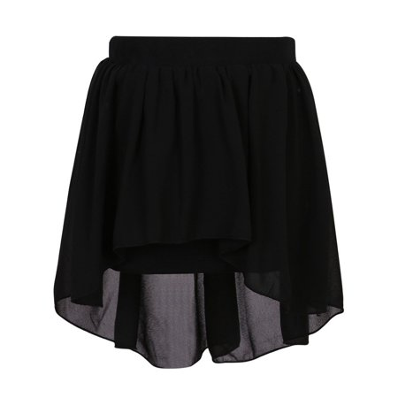 Little Girls Black Irregular Chiffon Covered Knit Skirt 2