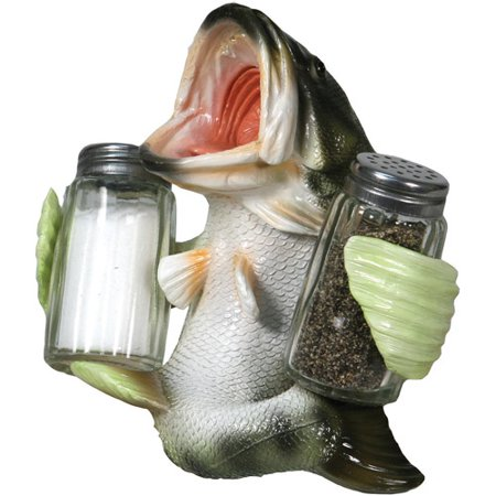 Rivers Edge Products Bass Glass Salt and Pepper Shaker (Rivers Edge Bass)