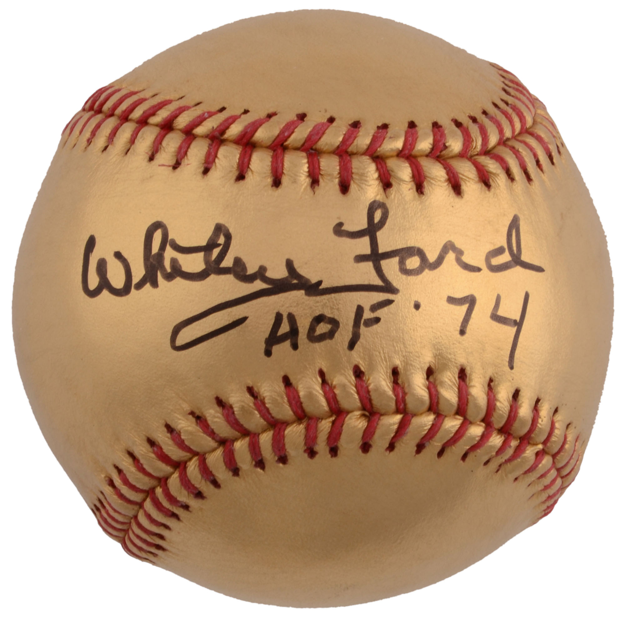 Whitey Ford New York Yankees Fanatics Authentic Autographed 24 Karat Gold Baseball with HOF 74 Inscription - No Size