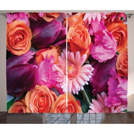Purple Curtains 2 Panels Set, Harmoniously Mixed Bed of Fresh ...
