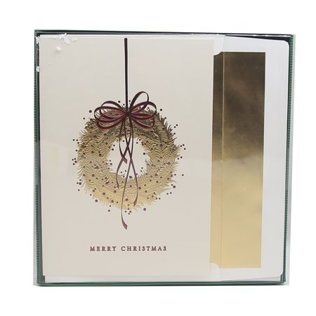 Boxed Christmas Cards Gold & Burgundy Foil, Embossed, 16 Cards / 16 Foil Lined Envelopes, Chip Box with Acetate Lid