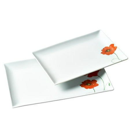Tabletops Gallery Poppy Rectangular 2 Piece Serving Platters, Floral - Personalized Serving Platter