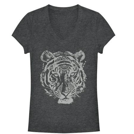 Juniors' Henna Tiger V-Neck