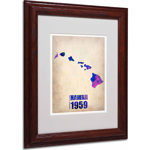 "Trademark Fine Art ""Hawaii Watercolor Map"" Matted Framed Art by Naxart, Wood Frame"