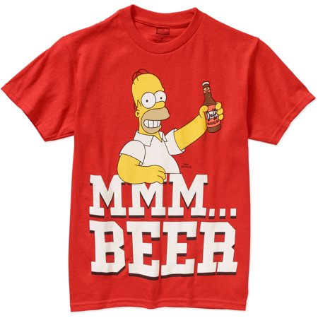 Simpsons Homer Mmm Beer Big Mens Graphic Short Sleeve T