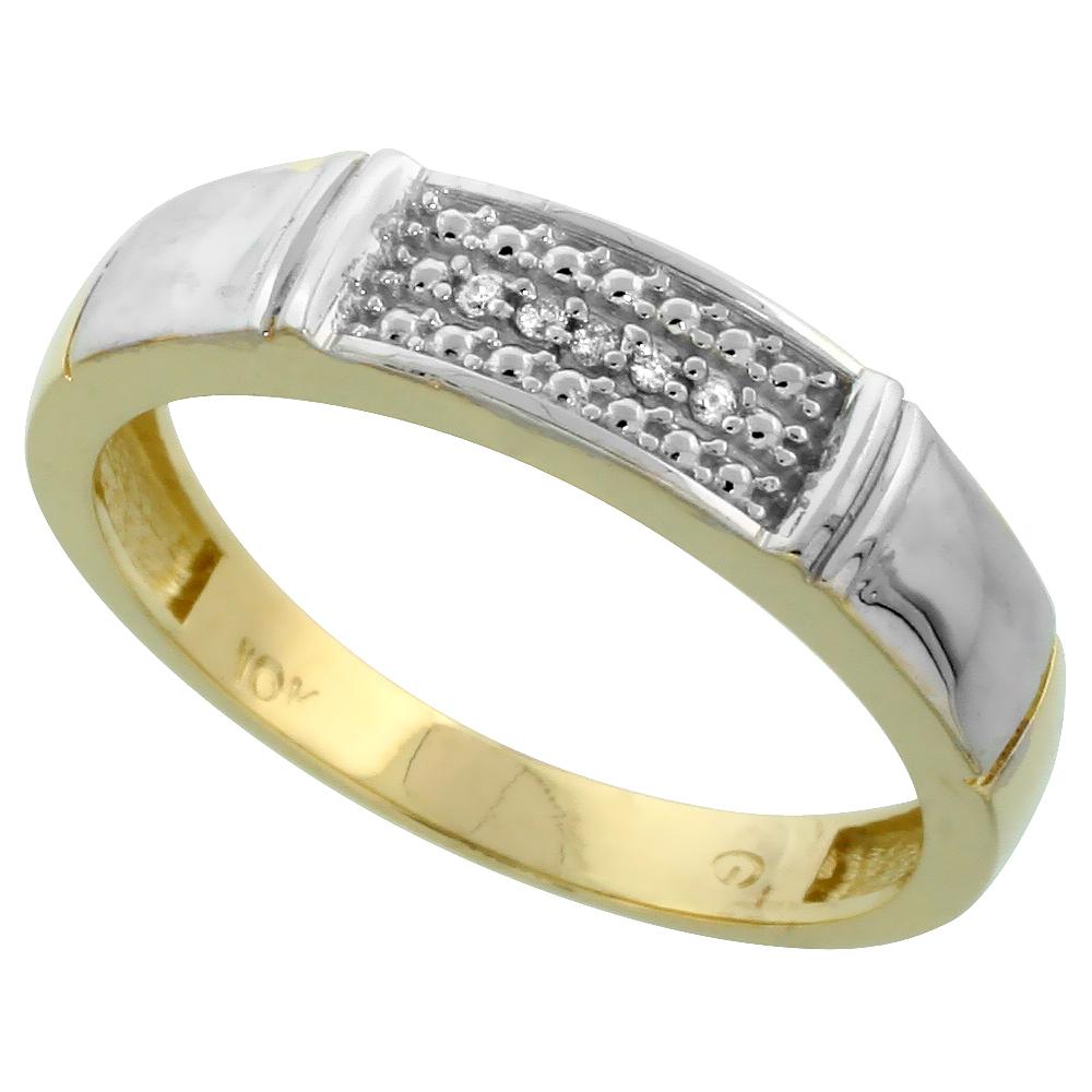 WorldJewels 10k Yellow Gold Mens Diamond Wedding Band Rin...