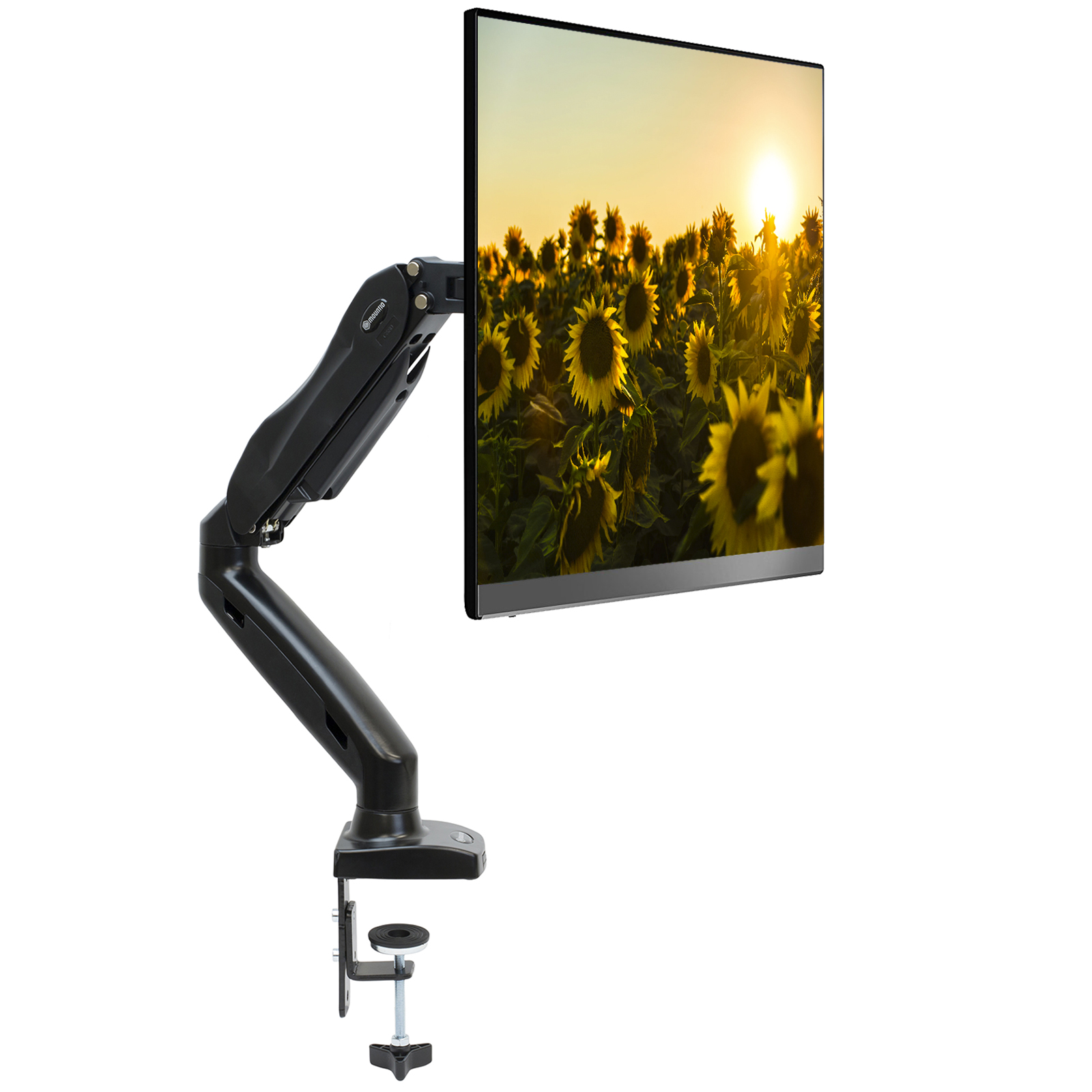 """Mountio Full Motion LCD Monitor Arm - Gas Spring Desk Mount Stand for Screens up to 27"""""""