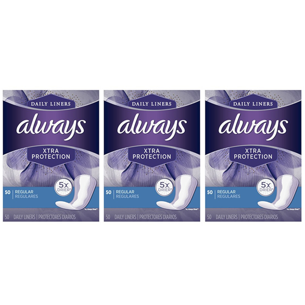 3 Pack - Always Xtra Protection Daily Liners, Regular, 50 Each