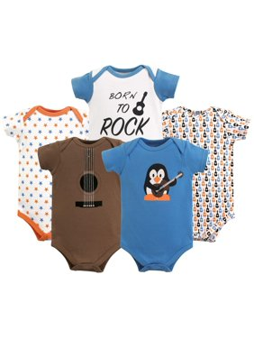 Luvable Friends Short Sleeve Bodysuits, 5pk (Baby Boys)