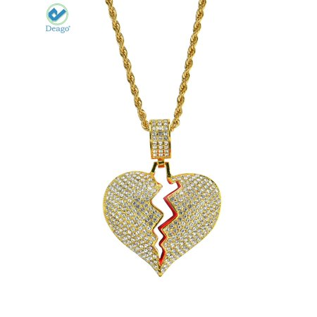 Deago Iced Out Broken Heart Pendant 24
