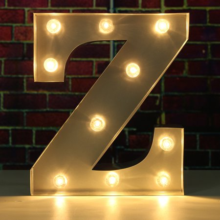 9inch Metal Marquee Letter Lights Led Vintage Circus Style N Z Alphabet Light Up Sign Decoration